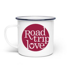RoadTripLove - Tasse mit Himbeerrot - Emaille Tasse-3