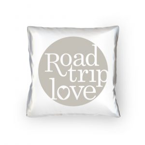 RoadtripLove Kissen mit Kieselgrau