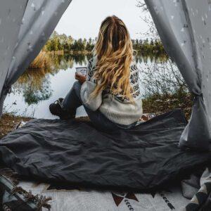 Große, beheizbare Decke für das Zelt