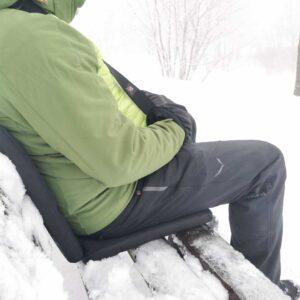 Beheizbares Polster für Sitzen im Schnee